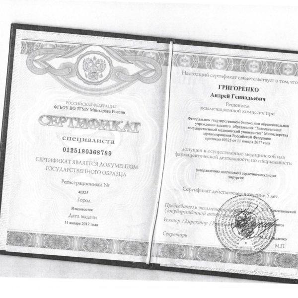 Документы Григоренко А.Г.